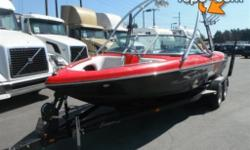 2008 Sanger V215 Bowrider Wake Boat & Trailer, 5.7L, 8 cylinder, automatic, 21.5 feet long, wake deck, wake tower, Sony Sound system, Sirius satellite radio dock, seats 9, Polk audio tower speakers, black exterior, red interior, vinyl. $37,740.00 plus