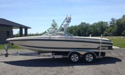 One very fussy owner. Freshwater Supra Santera 23 V-Drive Bow Rider Ski/Wakeboard boat. Indmar 5.7L Corvette LT1 EFi engine. Brushed tower with racks, massive Clarion surround sound system, wake plate, Perfect Pass. Very spacious modern layout that seats