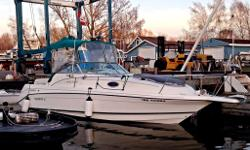 Rinker 265 Fiesta Vee, 2nd Owner, Fresh Water 28 LOA, 8.6 Beam 5.7L V8 Mercruiser engine Hard to get a boat in this condition for this price. Turn Key - All maintenance done by marina and ready for water. No Leaks No rips or tears on seats 5.7L Mercruiser