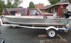 For the serious fisherperson! 2001 Extremely Clean 14' Prince Craft Aluminum Fishing Boat with 1998 9.9 Mercury Electric Start Motor with controls. Indoor winter storage, regularly professionally maintained. 2 swivel chairs, centre console seat, deep