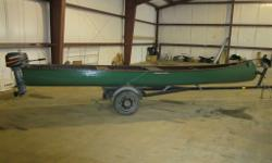 FRESH TRADE 20' CEDAR WOOD CANOE ON TRAILER WITH 8HP MARINER OUTBOARD