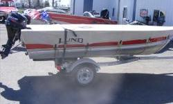 Used Very Little Like New STANDARD FEATURES Bow Eye Corner Castings : Aluminum Double-Riveted Seams Oar Locks Oven-cured finish Poured-foam Flotation Single-piece Rail Extensions Stern Handles Weather-Resistant Seats Additional Equipment: Bow Eye;Corner