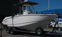 This 240 Outrage was custom built at the factory and loaded up for the original owner with factory installed options, for serious fishing and cruising. T-Mercury 150HP Verado's give an excellent cruise speed that is both efficient and quiet. Bimini T-Top,