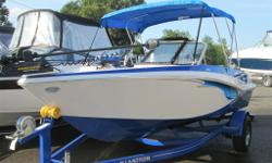 2013 GLASTRON GTSF185 BOW RIDER WITH MATCHING TRAILER COMES WITH - 3.0 INBOARD MERCURY, 135HP - BIMINI TOP AND BOOT - ROYAL BLUE BOW COVER - ROYAL BLUE MOORING & COCKPIT COVER - TILT STEERING - SNAP IN CARPETS WITH FIBERGLASS FLOOR - TROLLING MOTOR -