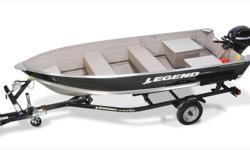 (2014) Legend 14 WideBody Anything but average. ?I wanted the toughest deep and wide utility in the market and the fact that it came with features like comfortable split seating, a V-bottom, easy access rod holders, oar locks, and a full-length splash