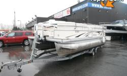 2007 Parti Kraft 2386RE Pontoon Boat with EZ Loader Trailer, 60 horsepower 4 stroke Mercruiser Engine, Engine Hours 895, 13 person capacity, white exterior. 2 Pontoons. $16,880.00 plus $300 conveyance fee, $17,180.00 total payment obligation before