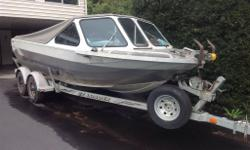 12 degree hull, 7 full length stringers, 3/8 bottom full teflon, Mercury sportjet with EZ clean, two bigle pumps, two 100 L fuel tanks, trolling motor mount, fish finder, windlass archor system, tandem trailer, two tops travel and full top, rod holders