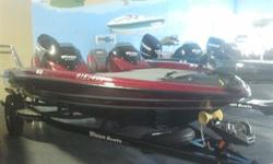 Packaged with a matching trailer with swing tongue and brakes, Evinrude 150HP E-TEC, hot foot, removable side console, Hydraulic steering Lowrance mark 5X in dash, Lowrance mark 5X bow, dual pro charger, Raker 2 stainless prop, built in transom straps,