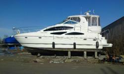 Low hours on this extremely well laid unit. The 405 Cruisers has a very spacious interior with a large salon, convertible dinette, full galley, two staterooms, two heads and two separate showers. The master aft stateroom features a walk-around island